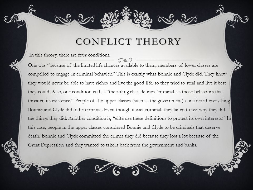 CONFLICT Theory In this theory, there are four conditions.