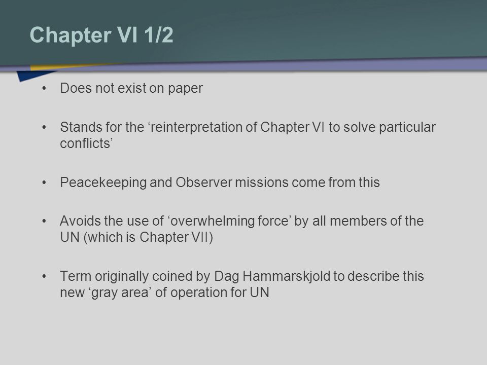 Chapter VI 1/2 Does not exist on paper