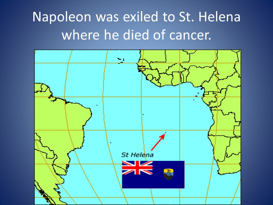 Napoleon was exiled to St. Helena where he died of cancer.