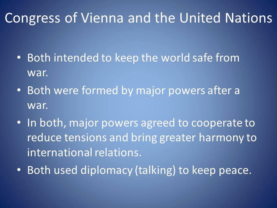 Congress of Vienna and the United Nations