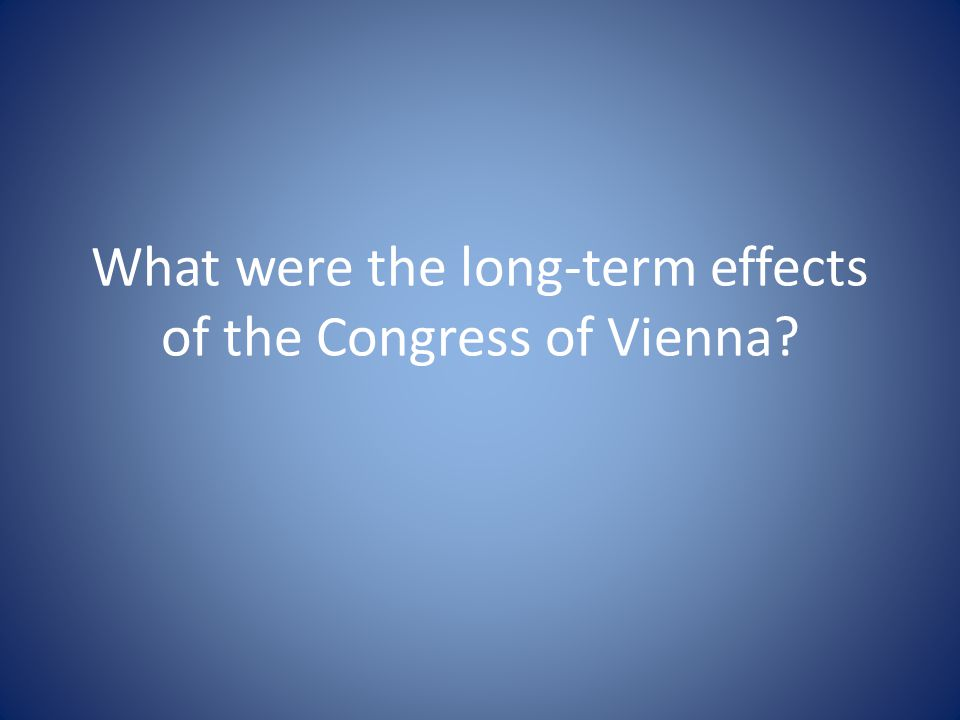 What were the long-term effects of the Congress of Vienna