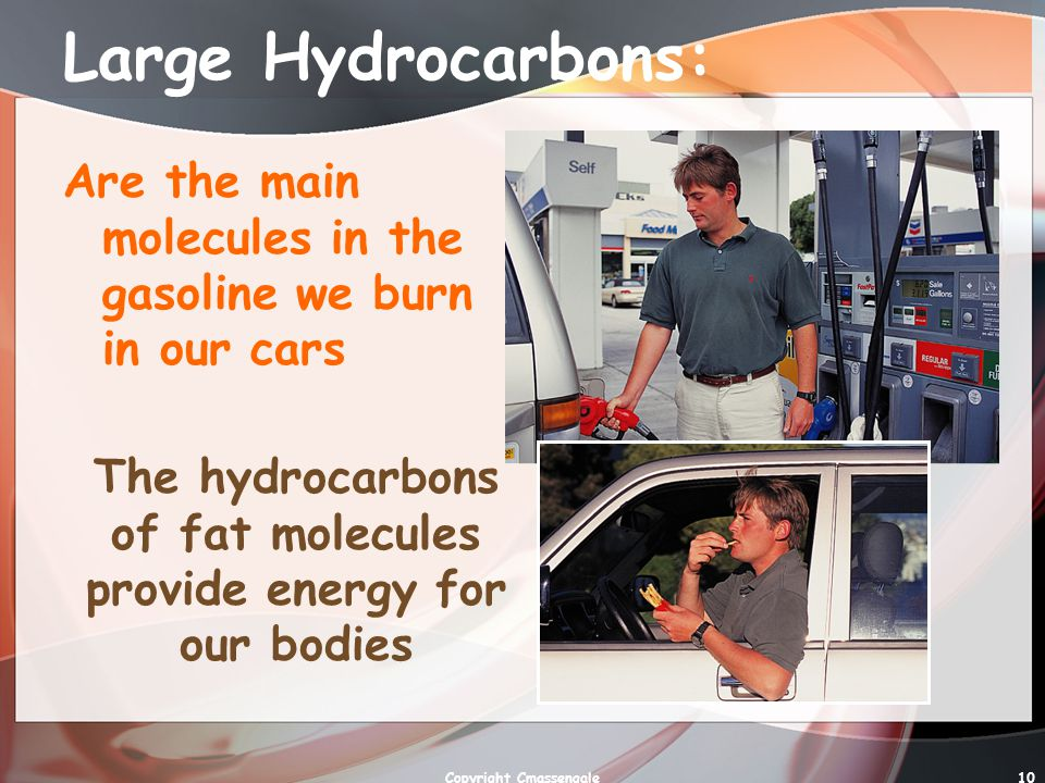 Large Hydrocarbons: Are the main molecules in the gasoline we burn in our cars. The hydrocarbons of fat molecules provide energy for our bodies.