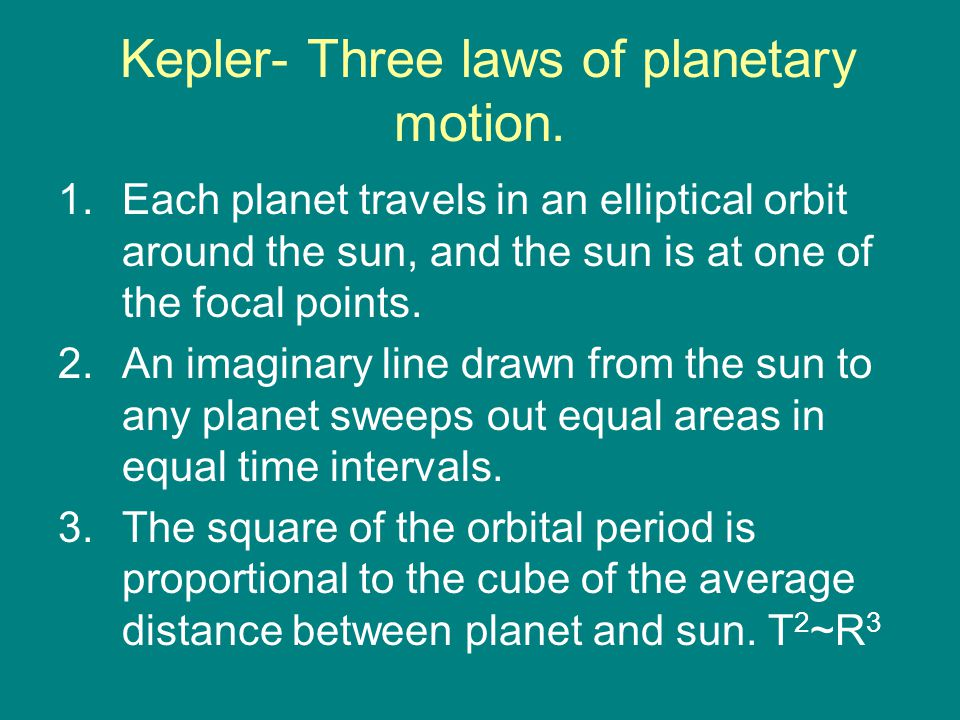 Kepler- Three laws of planetary motion.
