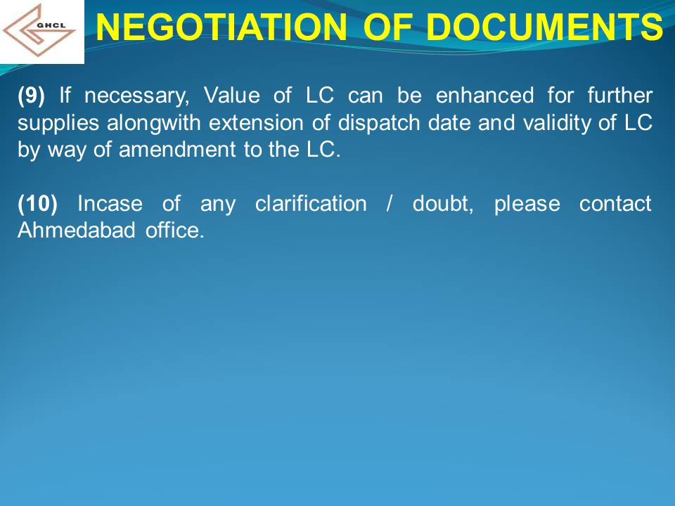 NEGOTIATION OF DOCUMENTS