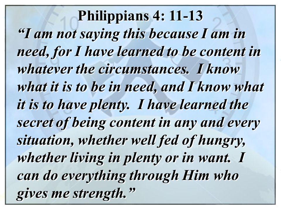 Philippians 4: 11-13