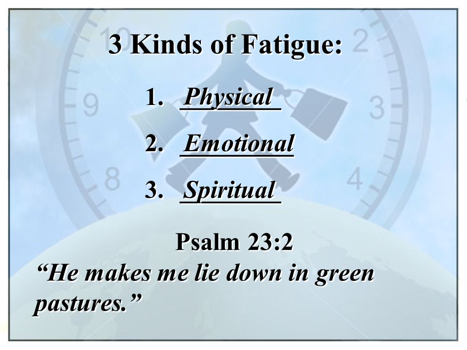 3 Kinds of Fatigue: 1. ________ Physical 2. _________ Emotional 3.