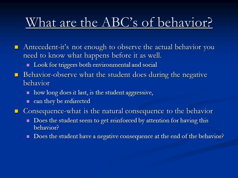 What are the ABC's of behavior