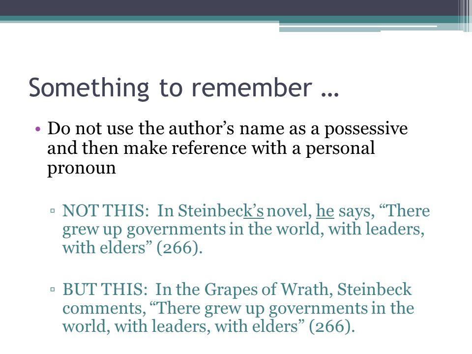 Something to remember …
