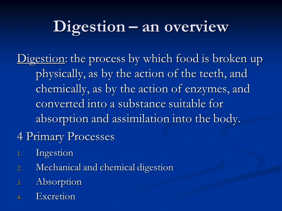 Digestion – an overview