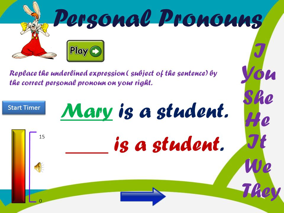 Personal Pronouns I You She Mary is a student. He It