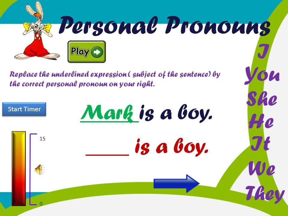 Personal Pronouns I You She Mark is a boy. He It ____ is a boy. We