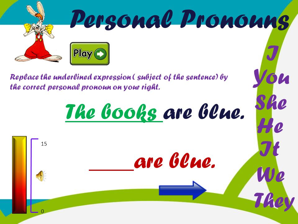 Personal Pronouns I You She The books are blue. He It ____are blue. We