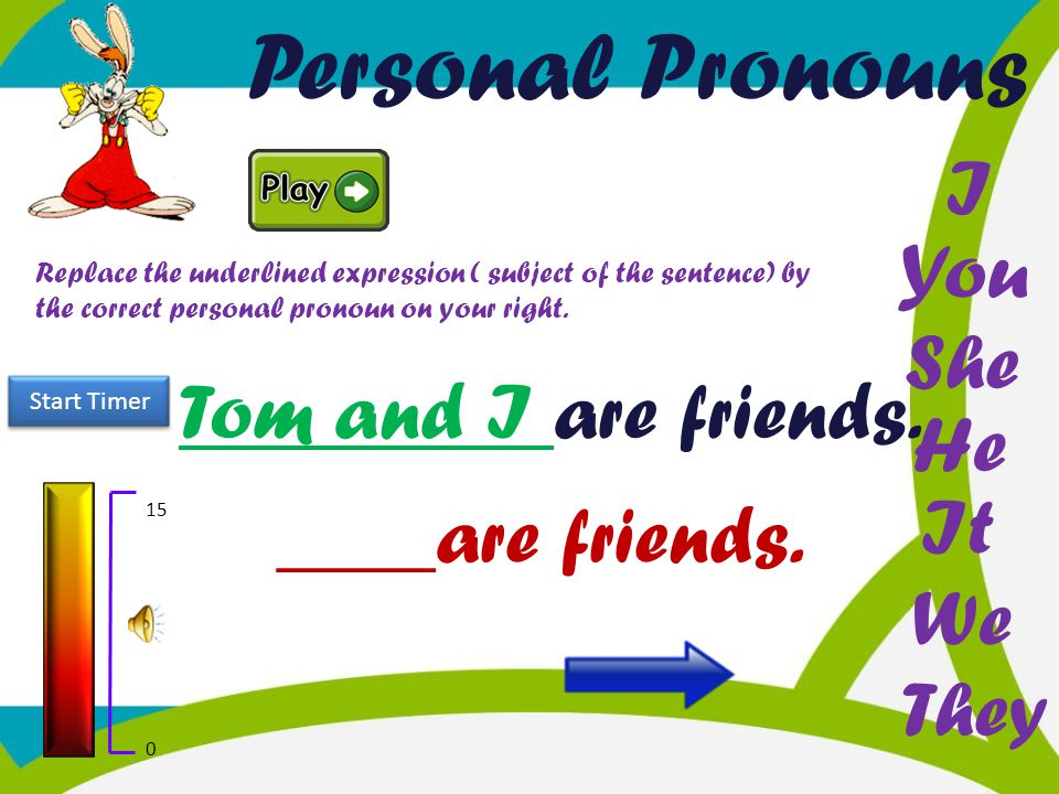 Personal Pronouns I You She Tom and I are friends. He It