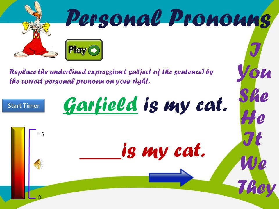 Personal Pronouns I You She Garfield is my cat. He It ____is my cat.