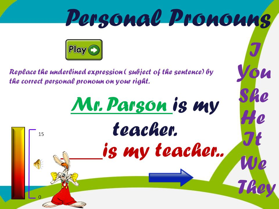 Personal Pronouns I You She Mr. Parson is my teacher. He It