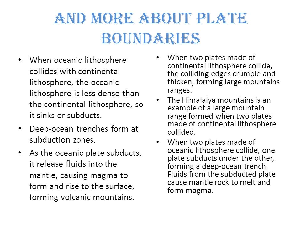 And More About Plate Boundaries