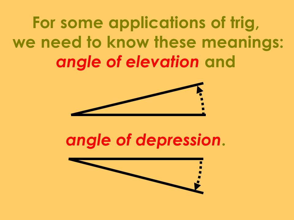 For some applications of trig, we need to know these meanings: angle of elevation and angle of depression.