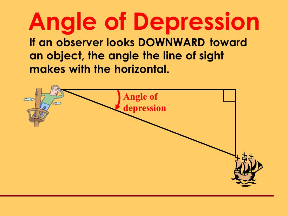 Angle of Depression If an observer looks DOWNWARD toward an object, the angle the line of sight makes with the horizontal.