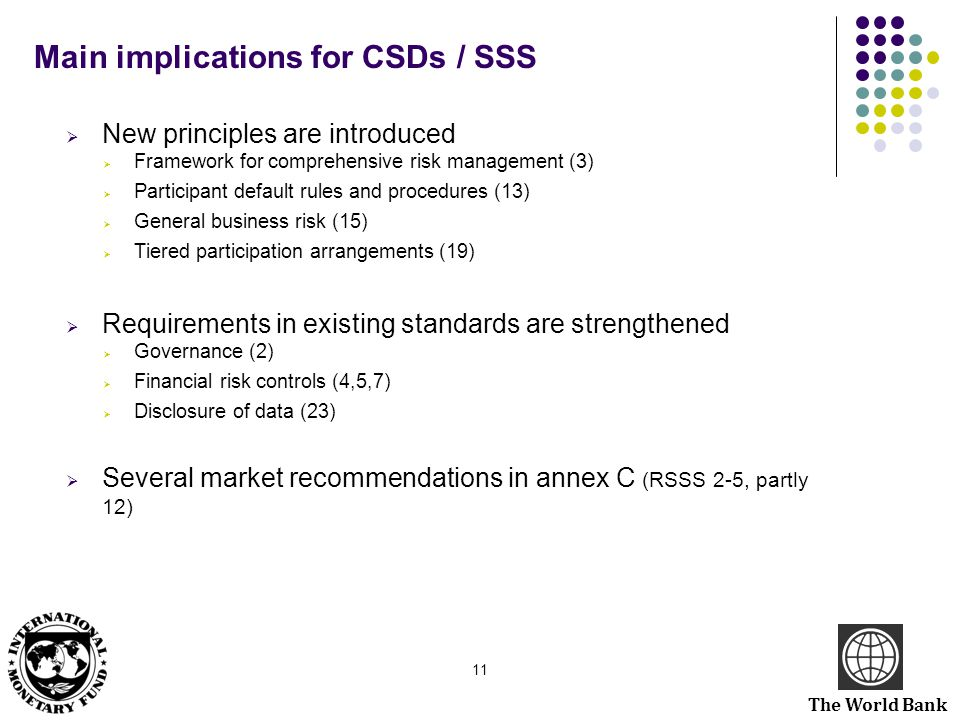 Main implications for CSDs / SSS