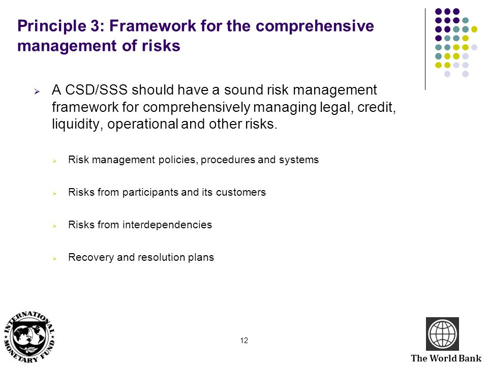 Principle 3: Framework for the comprehensive management of risks