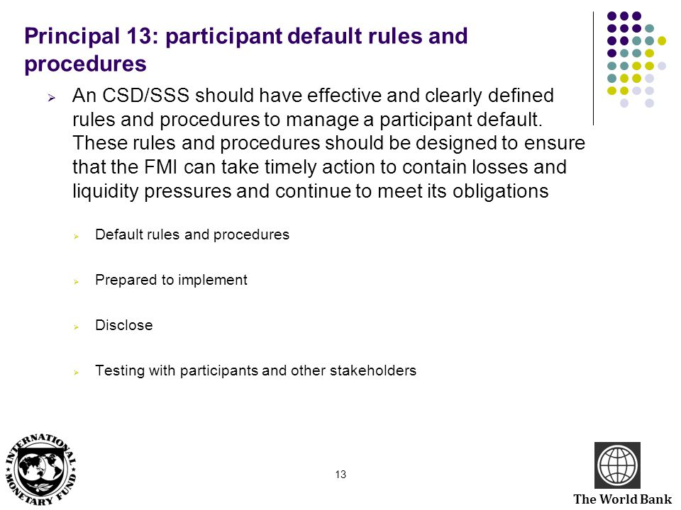 Principal 13: participant default rules and procedures