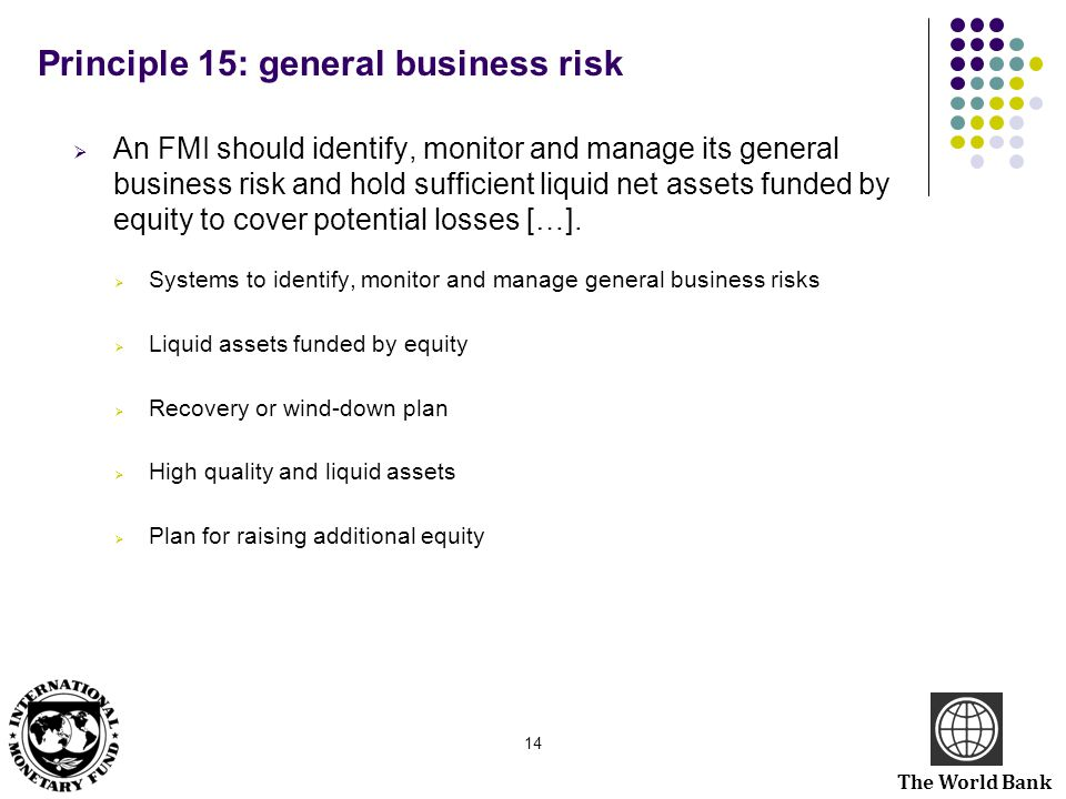 Principle 15: general business risk