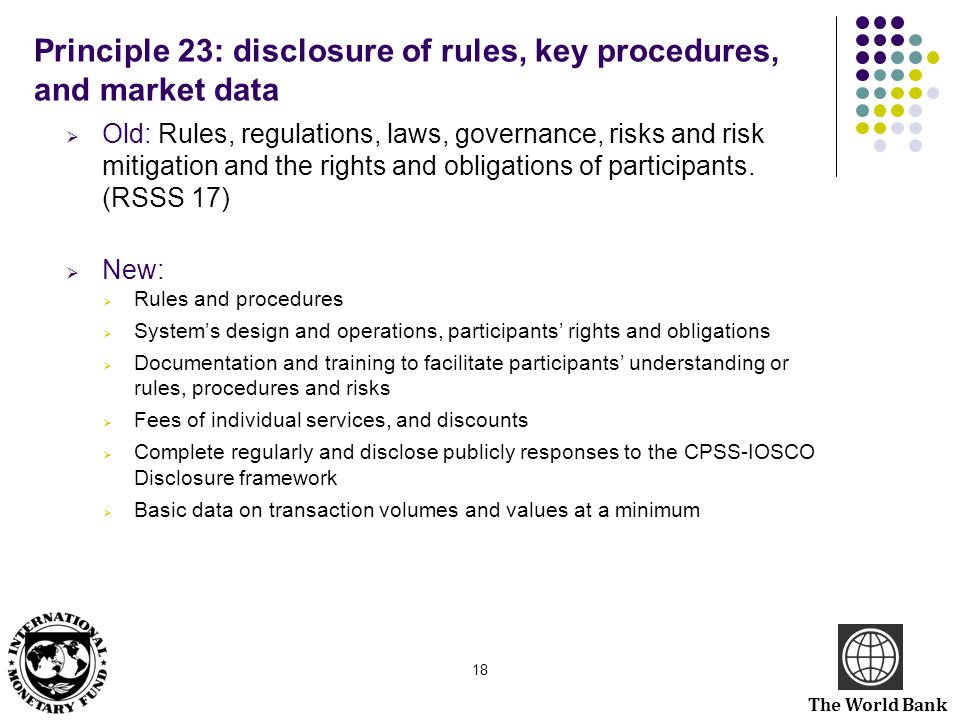 Principle 23: disclosure of rules, key procedures, and market data