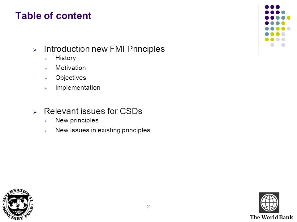 Table of content Introduction new FMI Principles