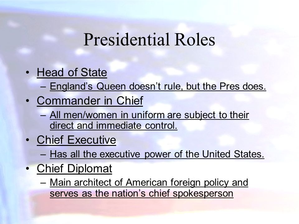 Presidential Roles Head of State Commander in Chief Chief Executive
