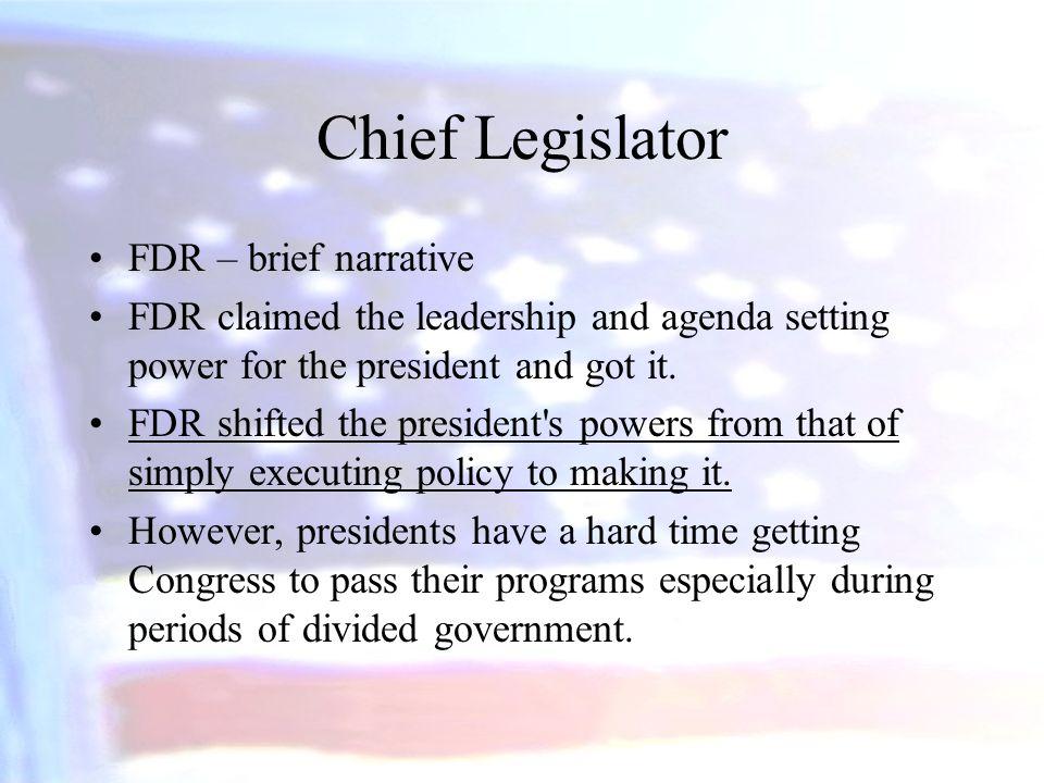 Chief Legislator FDR – brief narrative