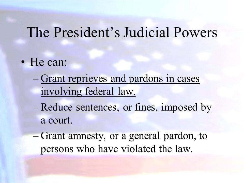 The President's Judicial Powers