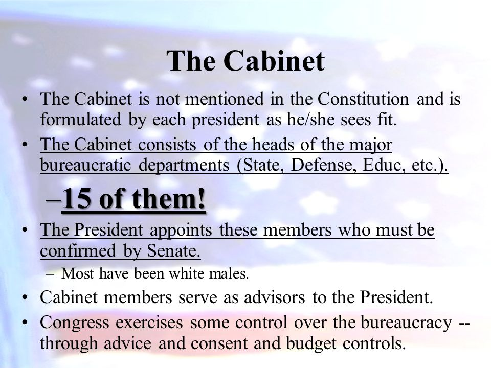 The Cabinet The Cabinet is not mentioned in the Constitution and is formulated by each president as he/she sees fit.
