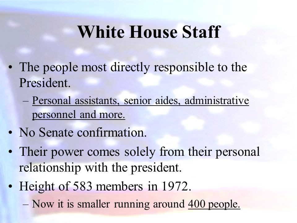 White House Staff The people most directly responsible to the President. Personal assistants, senior aides, administrative personnel and more.