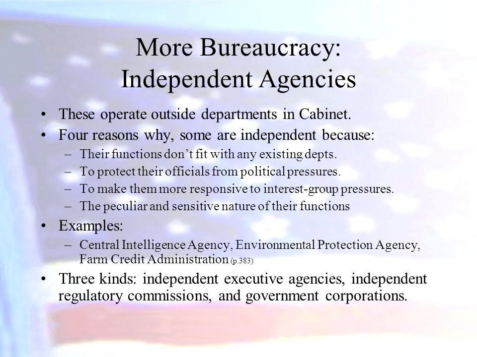 More Bureaucracy: Independent Agencies