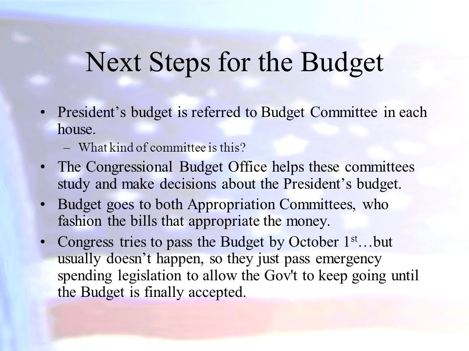 Next Steps for the Budget