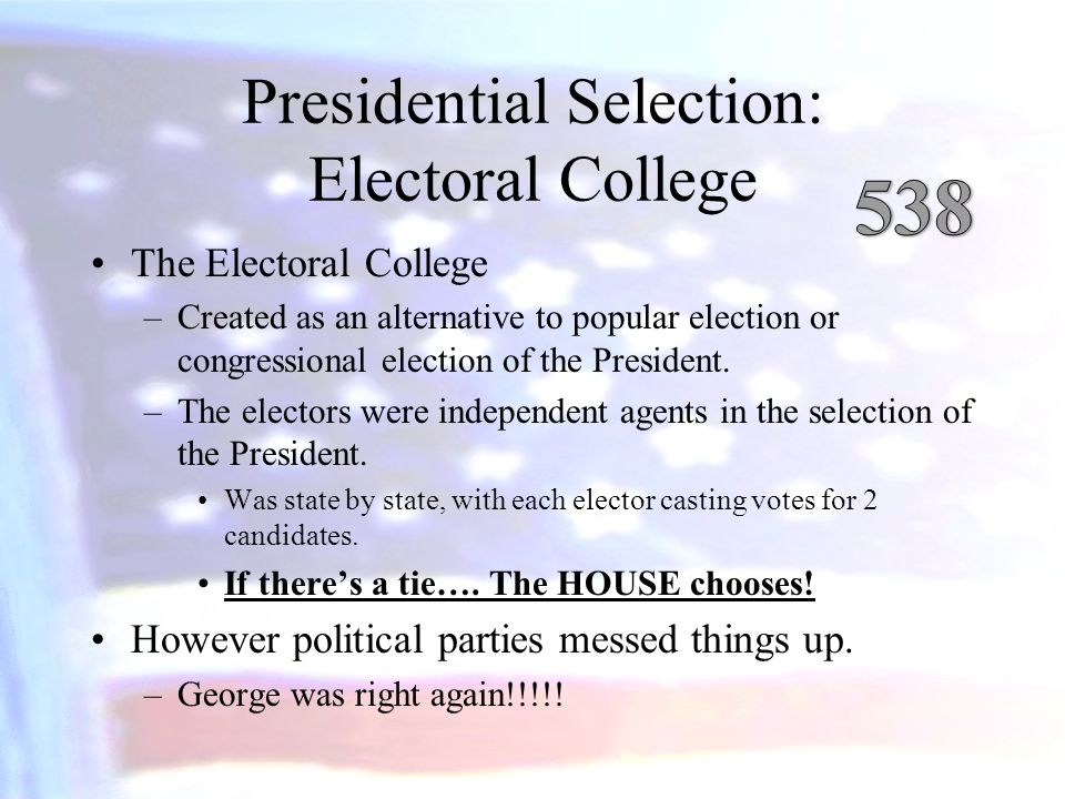 Presidential Selection: Electoral College