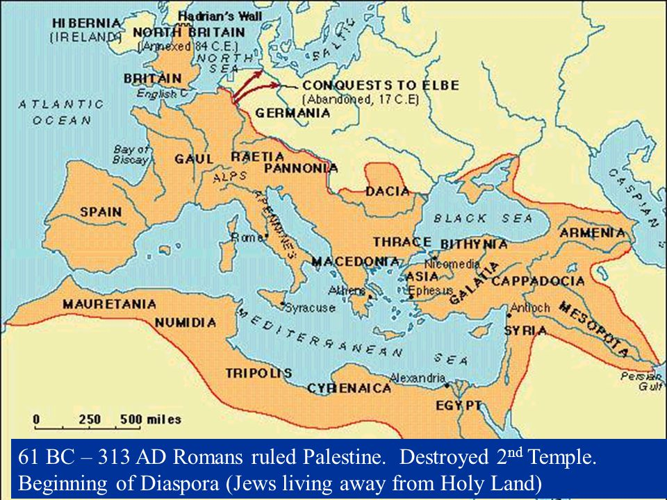 61 BC – 313 AD Romans ruled Palestine. Destroyed 2nd Temple