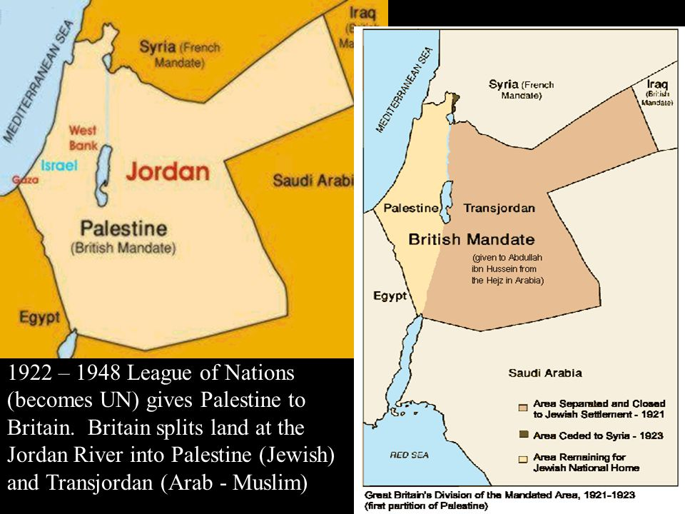1922 – 1948 League of Nations (becomes UN) gives Palestine to Britain