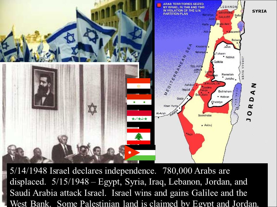 5/14/1948 Israel declares independence. 780,000 Arabs are displaced