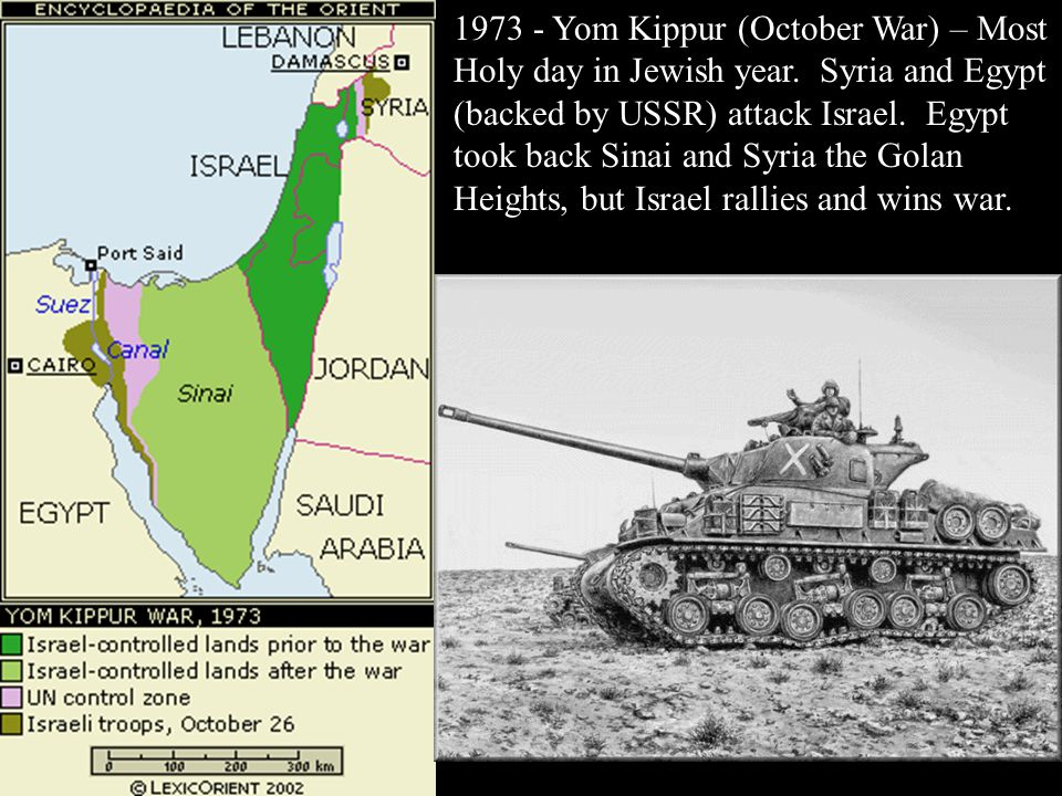 1973 - Yom Kippur (October War) – Most Holy day in Jewish year