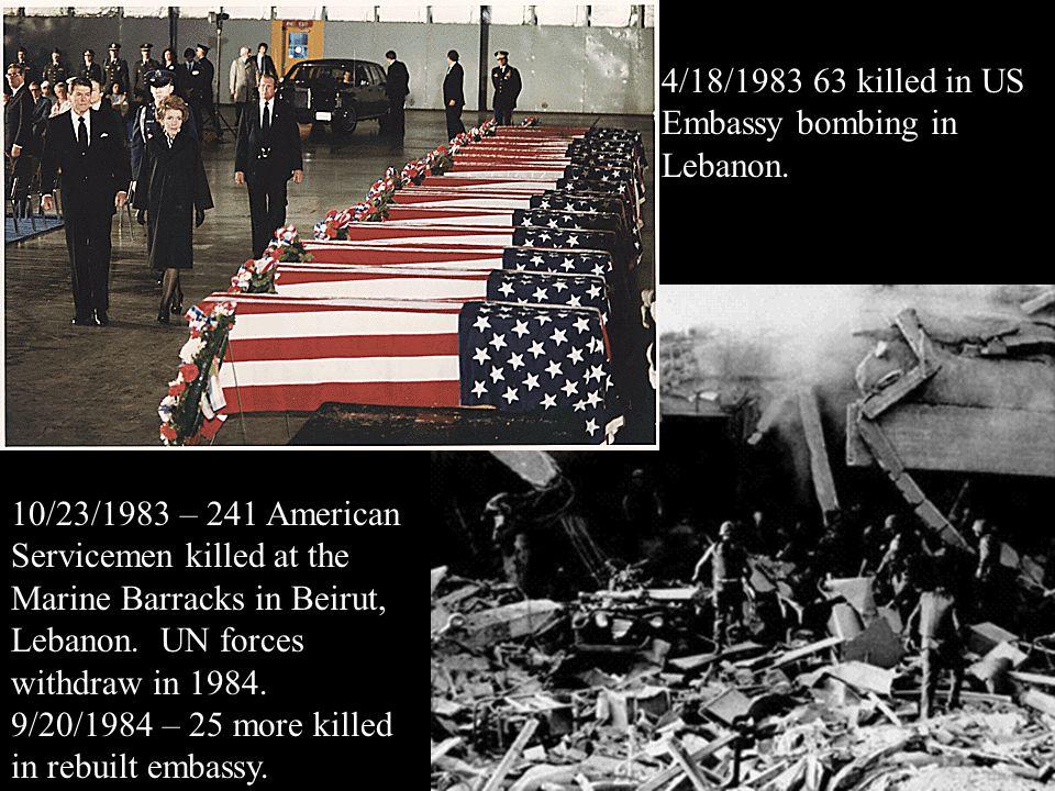 4/18/1983 63 killed in US Embassy bombing in Lebanon.