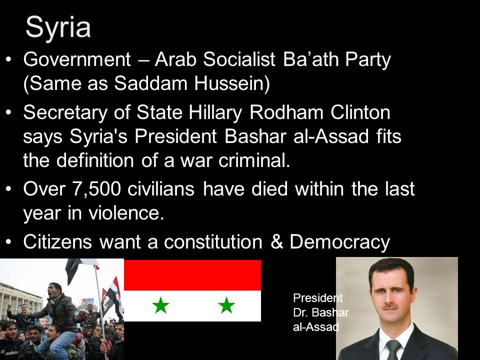 Syria Government – Arab Socialist Ba'ath Party (Same as Saddam Hussein)