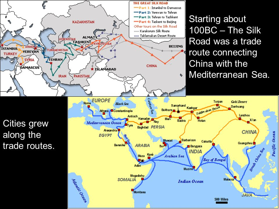 Starting about 100BC – The Silk Road was a trade route connecting China with the Mediterranean Sea.