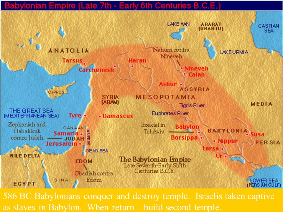 586 BC Babylonians conquer and destroy temple