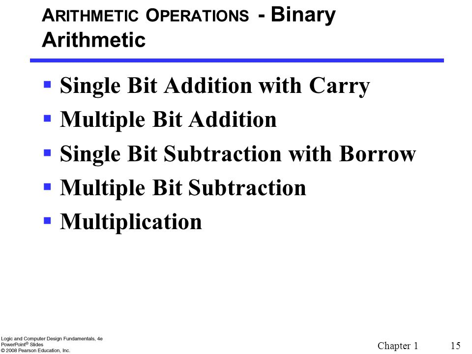 ARITHMETIC OPERATIONS - Binary Arithmetic