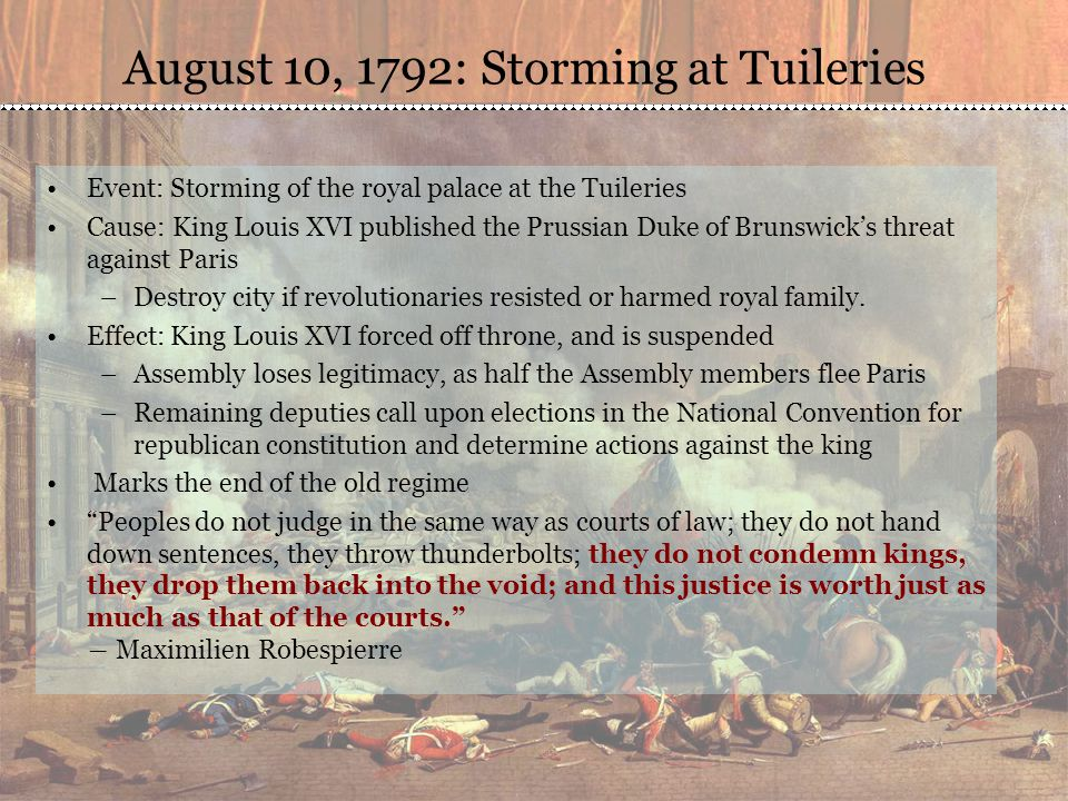 August 10, 1792: Storming at Tuileries