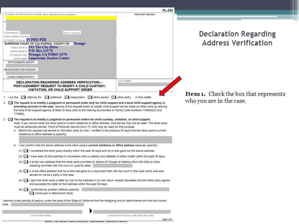 Declaration Regarding Address Verification