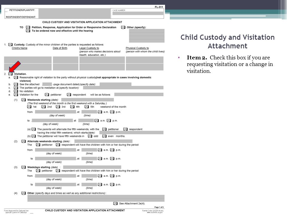 Child Custody and Visitation Attachment