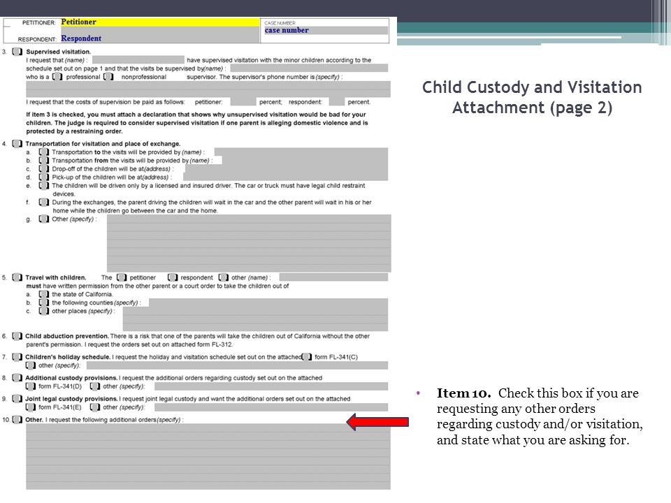 Child Custody and Visitation Attachment (page 2)