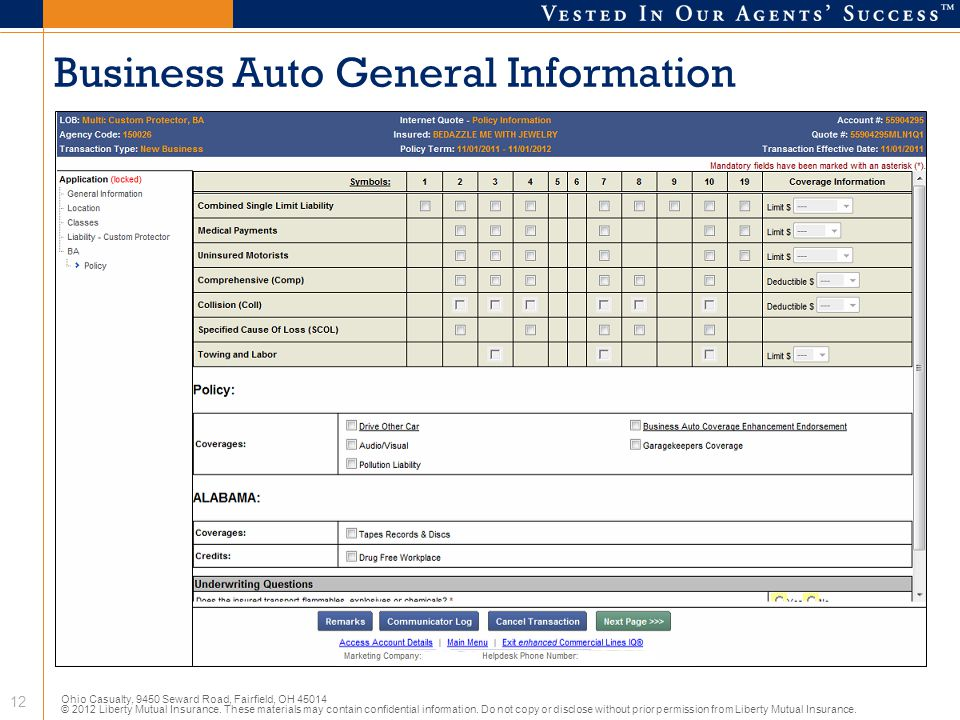 Business Auto General Information